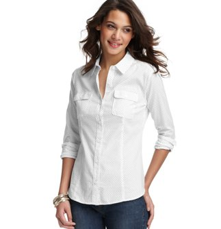 Ann Taylor Loft Dobby Dot Long and Lean Button Down Shirt | $23.99 (Originally $44.50)